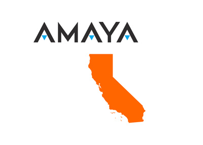 AMAYA comapny logo above the map of California state in orange color