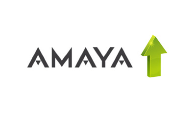 Amaya share up - Company logo and a green arrow up