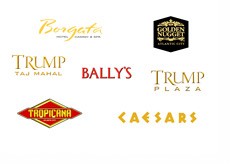 Atlantic City - New Jersey - Casino Logos - Ballys, Ceasars, Trump Plaza, Trump Taj Mahal. Goledn Nugget, Borgata and Tropicana