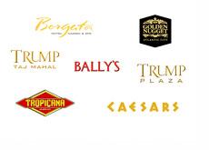 Atlantic City - New Jersey - Casino Logos - Ballys, Ceasars, Trump Plaza, Trump Taj Mahal. Goledn Nugget, Borgata and Tropicana