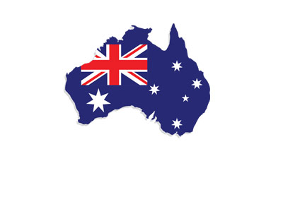 Map and flag of Australia - Stylized - Illustration.