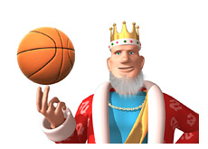 -- King is spinning a basketball on his finger - world is going round and round --