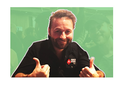Photo of Daniel Negreanu (from social media), cropped over a blackened background.  Two thumbs up.  Smiling.