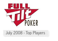 top winners at full tilt poker room for 2008 month of july