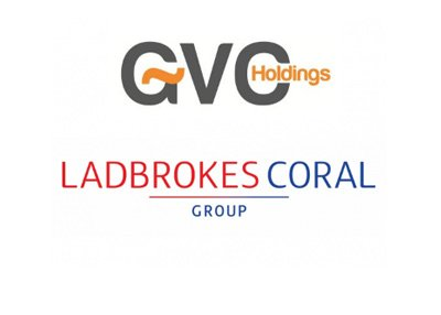 Company logos - GVC Holdings and Ladbrokes Coral Group - White background.