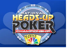 national heads-up poker championship logo on blue nbc background