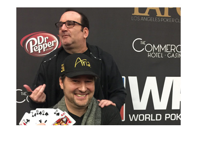 Social media snap of Phil Hellmuth and Mik Matusof after LA Poker Classic 2017.