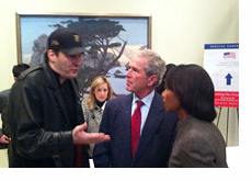 Phil Hellmuth, George Bush and Condi Rice at the opening of the presidential library