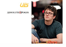 Isaac Haxton looking up / Absolute Poker and Ultimate Bet logos