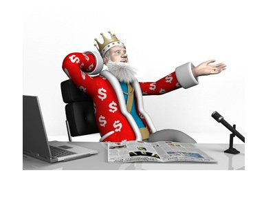 The King is leaning back in his office chair.  He is pleased about the soaring Bitcoin price.