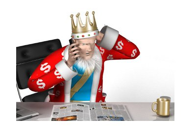 The King is concerned about Australia leaving the online poker market.  Reading papers, scratching his head.