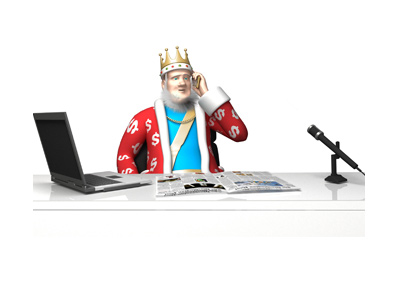 The King is receiving news via cellphone about the upcoming changes to Pokerstars software.
