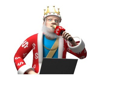 The King is sitting on top of his office desk, portable computer on his lap and microphone in his hand.  The report is on.