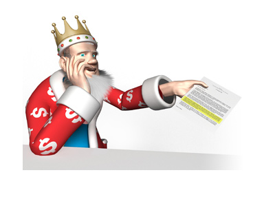 The King is presenting important info in a document.  Highlighted in yellow.