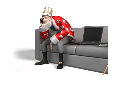 The King is sitting on the couch, leaning forward.  The incoming news is important.  Talking on cell-phone.