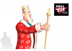 poker king is holding up his money stick - next to the full tilt poker logo
