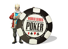 -- The King is standing next to a large World Series of Poker chip --