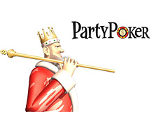 -- King with the dollar cane over his shoulder looking at the PartyPoker logo --