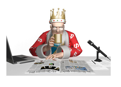 The King is drinking out of his gold coffee mug and thinking about the latest news from the poker world