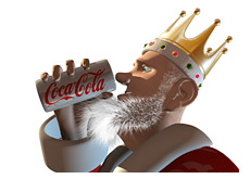 -- poker king is drinking a tasty coca cola beverage --