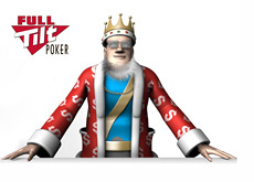 The King is standing next to the Full Tilt Poker logo