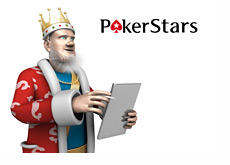 Poker King is calculating stats on his ipad - Pokerstars logo