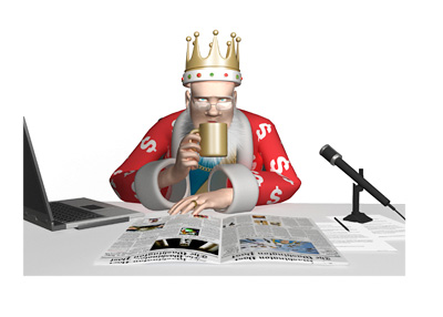 The Poker King is sitting at his work desk and contemplating the online poker situation in 2016.  Laptop, newspapers, coffee and mic surround him