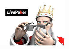 King cleaning his sunglasses next to the LivePoker logo