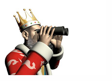 The King is looking through binoculars into the future