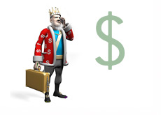 The King is doing the Money Report - Suitcase full of cash - 3d