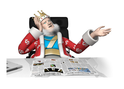 The King is sitting at his desk holding his head thinking about the characters considered for the Poker Hall of Shame