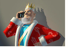 poker king talking to his people on the iphone