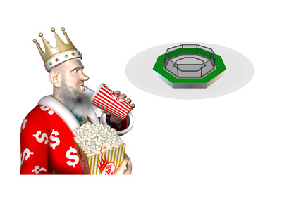 The King, loaded with popcorn and pop, is anticipating the next mma match in the poker community