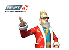 -- Poker King wearing dark shades - presenting NAPT - North American Poker Tour logo --