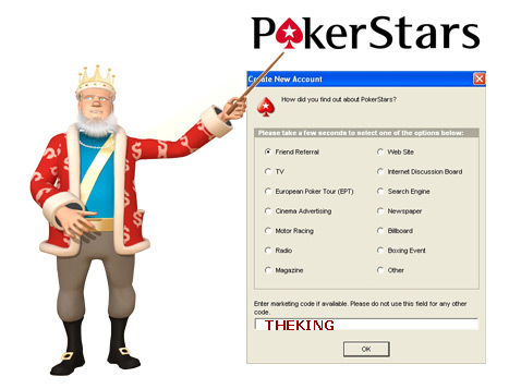 The King presents the Pokerstars Marketing Code