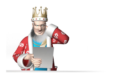 The King is reading the news with a puzzled look on his face and his hand behind his head - Reading news about Brexit