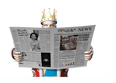 The King is reading the papers