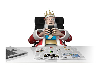 The Poker King is receiving industry news via his mobile phone while leaning in his office chair