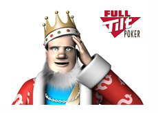 The King is scratching his head - Full Tilt Poker logo in the background