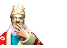 -- King is in the thinking mode - Has a ring on his finger --