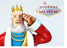 poker king saying adios - i am off to vegas - standing in front of the famous las vegas sign