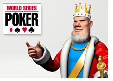 poker king is pointing to a wsop sign - world series of poker logo