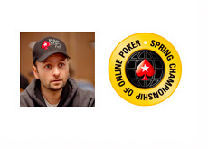 Daneil Negreanu Photo Next to the SCOOP Logo