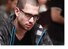 Nick Schulman at the WSOP 2010 - At the table looking mean