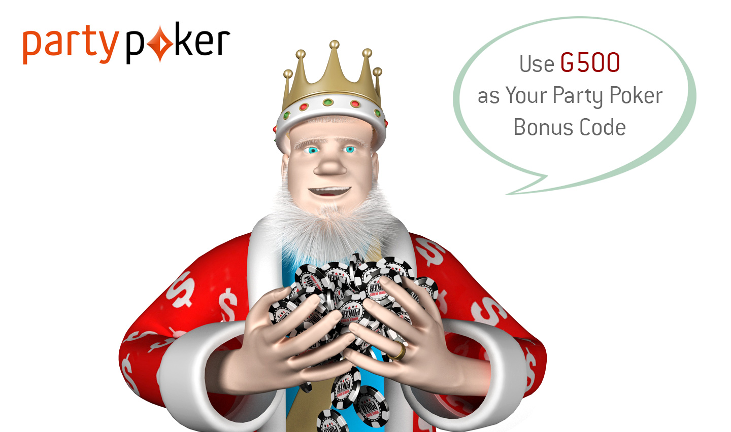 The King presents: Company logo partypoker.com - Information about the bonus code
