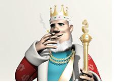 poker king is smoking a cigarette