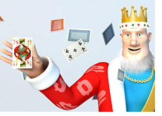 poker king is holding a playing card while a card deck is flying around behind him