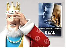 poker king is standing in front of the movie poster - the deal - and distancing himself from it
