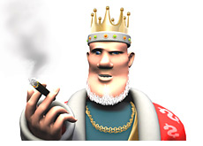 king is smoking a cigarette and talking about account takeovers in online poker