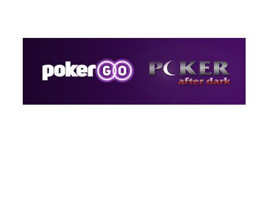 PokerGO and Poker After Dark logos next to one another on top of a purple background.